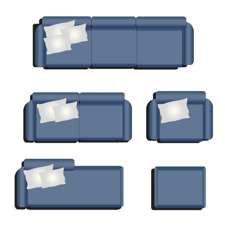 tops: Furniture top view set 32 for interior ,vector illustration, blue sofa