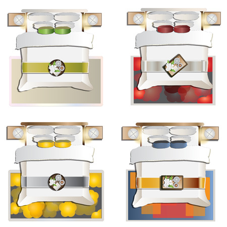 king bed: King bed top view set 4 for interior , vector illustration Illustration