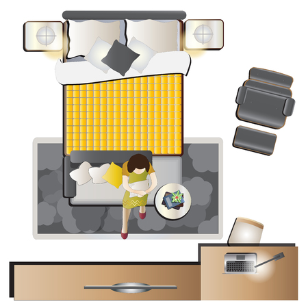 Bedroom top view set for interior, vector illustration Illustration
