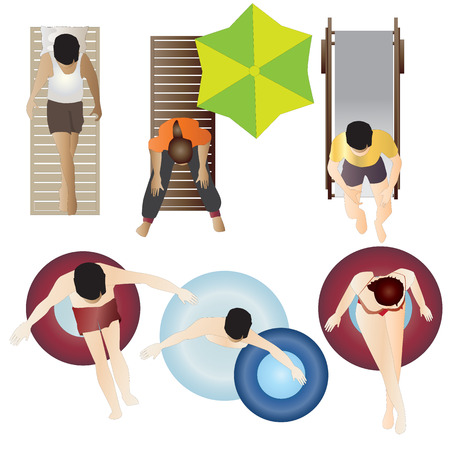 laziness: People Pool  Beach top view set 2 for interior , vector illustration
