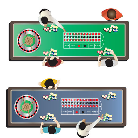 roulette table: Casino furniture , roulette table top view set 1 for interior, vector illustration