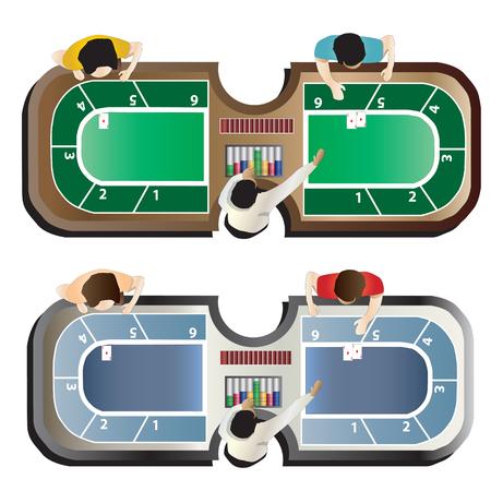 casino wheel: Casino furniture ,Baccarat table top view set 4 for interior, vector illustration