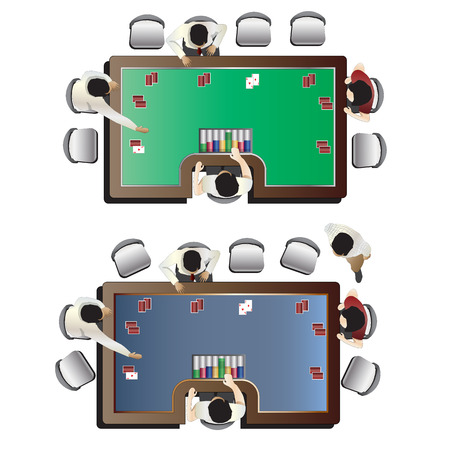 Casino furniture , Poker table top view set 5 for interior, vector illustration