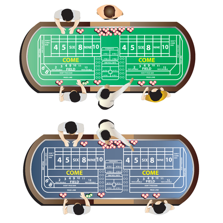 wager: Casino furniture , craps table top view set 9 for interior, vector illustration
