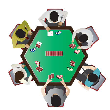 cartas poker: muebles de casino, poker vista superior de mesa fija 10 para, ilustración interior del vector