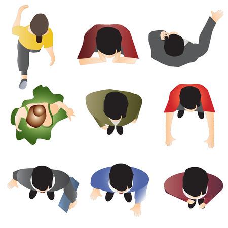 mensen die zich bovenaanzicht set 10 voor het interieur, vector illustratie