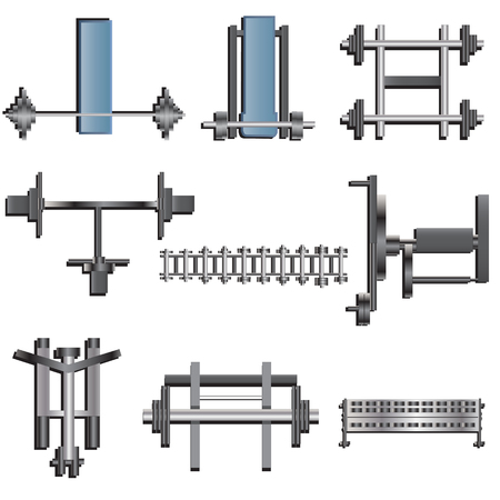 recreation rooms: Fitness equipment top view set 1 for interior ,vector illustration Illustration
