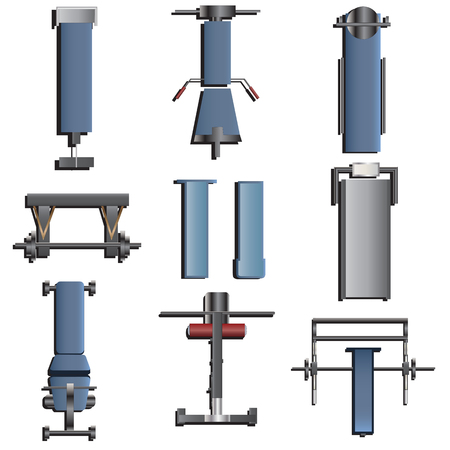recreation rooms: Fitness equipment top view set 2 for interior ,vector illustration