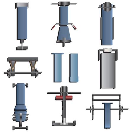 fitness equipment: Fitness equipment top view set 2 for interior ,vector illustration