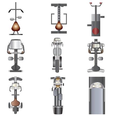 aparatos electricos: Vista desde arriba Equipo de la aptitud fij� 3 para el interior, ilustraci�n vectorial Vectores