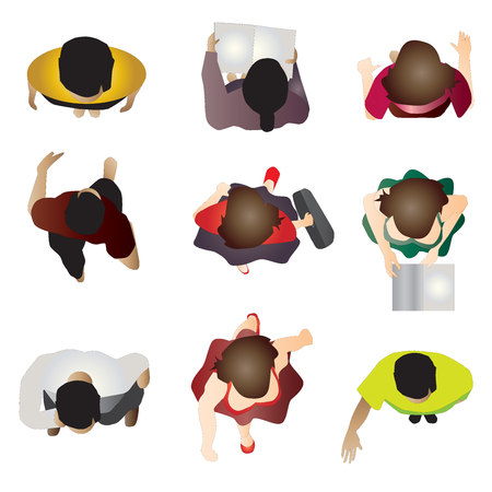 people standing top view set 7 , vector illustration