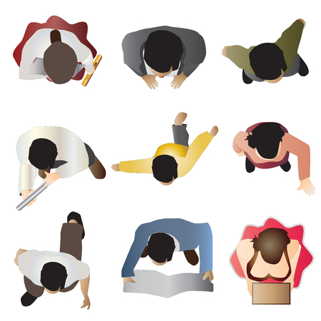 people standing top view set 8 , vector illustration Çizim