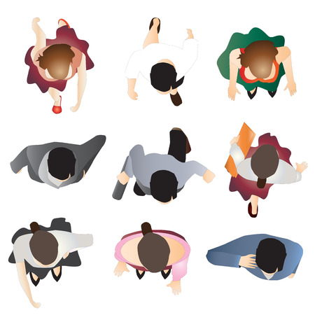 people standing top view set 9 , vector illustration  イラスト・ベクター素材