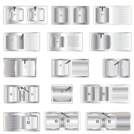 Kitchen Equipment , Sinks top view set 1 for interior, vector illustration