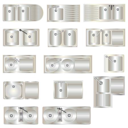 sinks: Kitchen Equipment , Sinks top view set 3 for interior, vector illustration Illustration