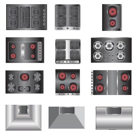 stove top: kitchen equipment, Electric stove top view set 4 for interior , vector illustration