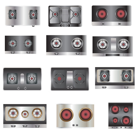 stove top: Kitchen equipment, Gas stove top view set 5 for interior , vector illustration Illustration