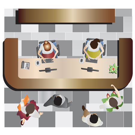COSTUMERS: Office furniture, Reception top view set 13 for interior , vector illustration Illustration