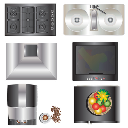 Kitchen equipment top view set 9 for interior , vector illustration