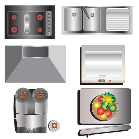 top 7: Kitchen equipment top view set 7 for interior , vector illustration