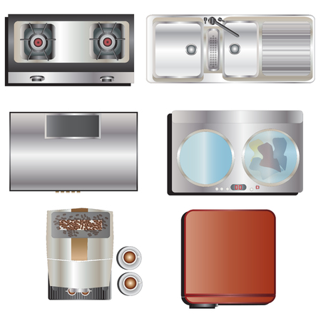 stove top: Kitchen equipment top view set 8 for interior , vector illustration