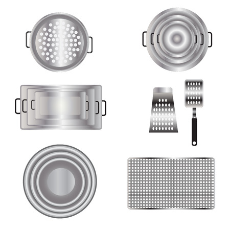 Kitchen equipment top view set 13 for interior , vector illustration