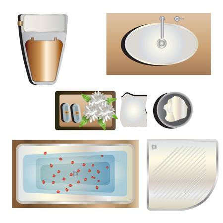 washbowl: Bathroom top view set 5 for interior , vector illustration Illustration