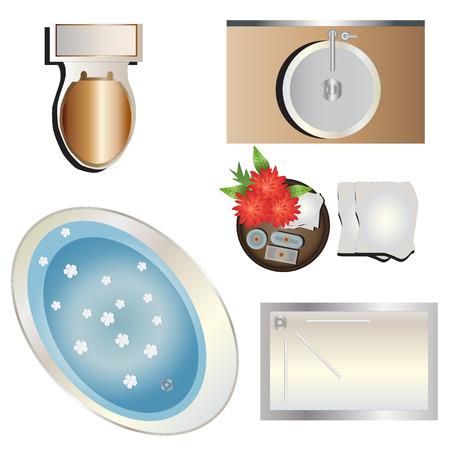washbowl: Bathroom top view set 6 for interior , vector illustration Illustration