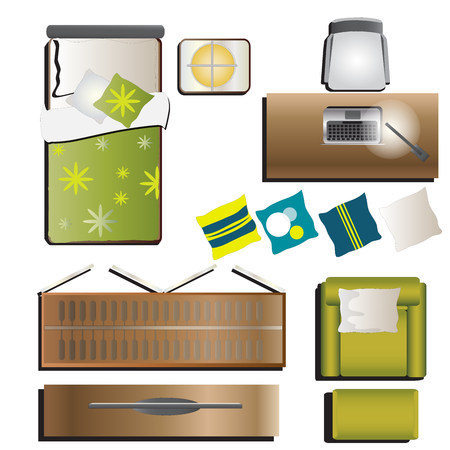 tv sets: Bedroom top view set 5 for interior, vector illustration