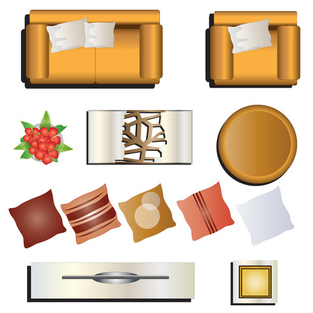 table top: Living room furniture top view set 7 for interior , vector illustration