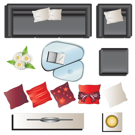 table top: Living room furniture top view set 6 for interior , vector illustration