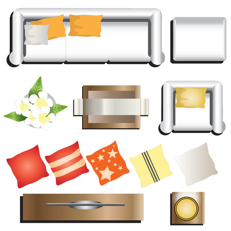 table top: Living room furniture top view set 11 for interior , vector illustration
