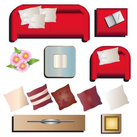 Living room furniture top view set 10 for interior , vector illustration