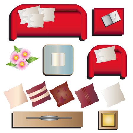table top: Living room furniture top view set 10 for interior , vector illustration