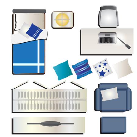 letti: Camera da letto vista superiore impostato 6 per interni, illustrazione vettoriale