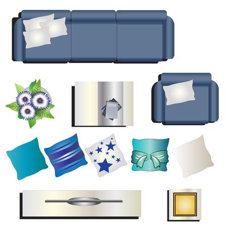 Living room furniture top view set 8 for interior , vector illustration Illustration