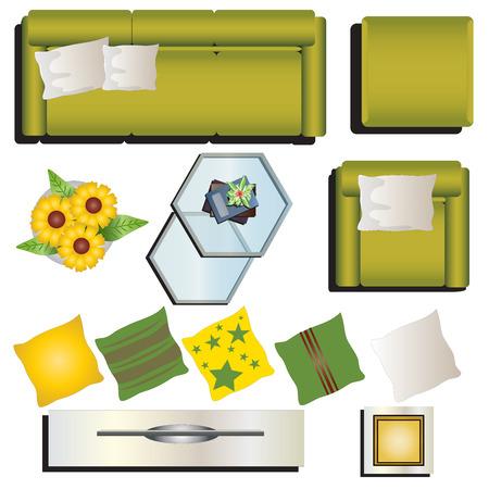 Living room furniture top view set 9 for interior , vector illustration Ilustração