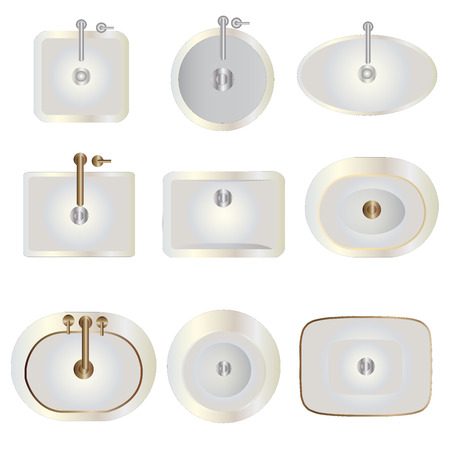 fixtures: Bathroom , Basin top view set 8 for interior , vector illustration