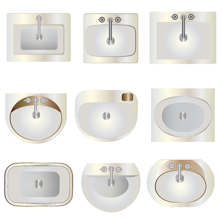 fixtures: Bathroom, wash basin set 9 top view for interior ,vector illustration Illustration