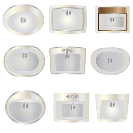 wash basin: Bathroom , wash basin top view set 10 for interior , vector illustration Illustration