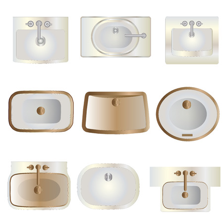 fixtures: Bathroom , wash basin top view set 11 for interior , vector