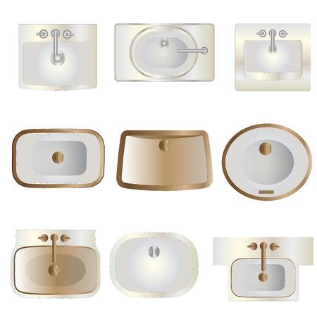 wash basin: Bathroom , wash basin top view set 11 for interior , vector