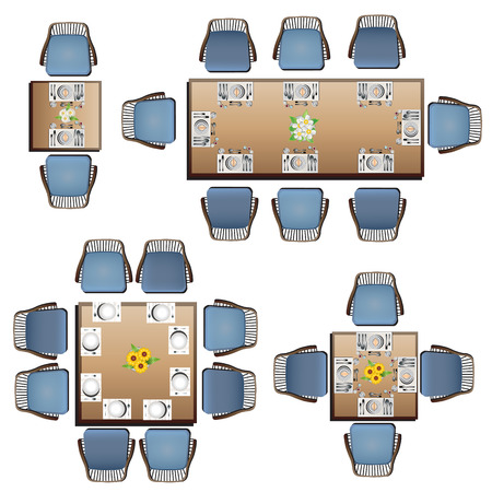 table top: Dining furniture top view set 3 for interior, vector illustration