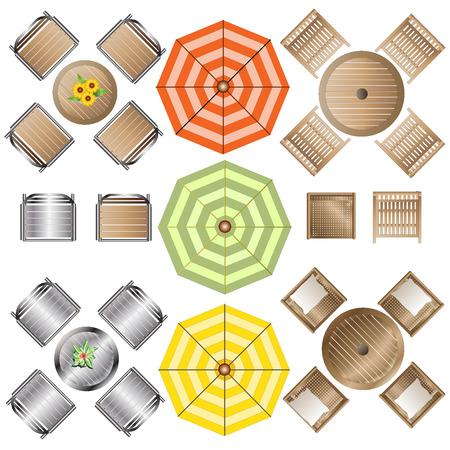 Outdoor Furniture top view set 1 for Landscape Design , vector illustration Vettoriali