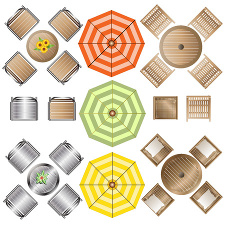 table top: Outdoor Furniture top view set 1 for Landscape Design , vector illustration Illustration