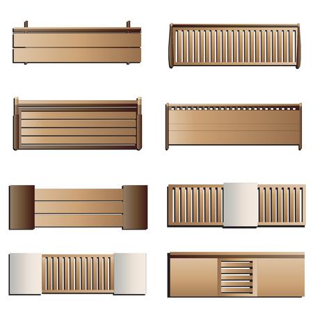 Outdoor furniture , Bench top view set 6 for landscape design , vector illustration