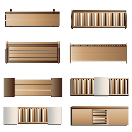 Outdoor Furniture , Bench Top View Set 6 For Landscape Design , Vector  Illustration Vector
