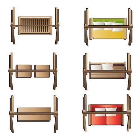 columpios: Muebles de jardín, columpio vista desde arriba conjunto 7 para el diseño del paisaje, ilustración vectorial Vectores