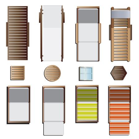 Dış mekan mobilyaları, şezlong set üstü görünüm peyzaj tasarımı için 8 set, vektör çizim