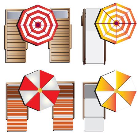 trompo de madera: Muebles de jardín, tumbonas establecido vista superior fijó el 9 de diseño del paisaje, ilustración vectorial Vectores